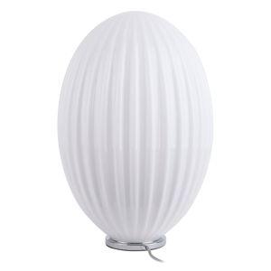 Biela sklenená stolová lampa Leitmotiv Smart, ø 30 cm