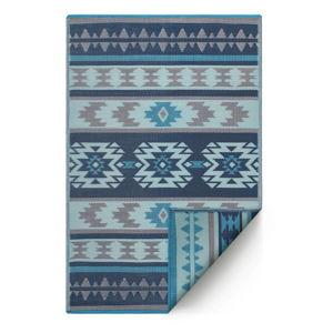 Modrý obojstranný vonkajší koberec z recyklovaného plastu Fab Hab Cusco Blue, 150 x 240 cm