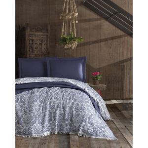 Tmavomodrý bavlnený prešívaný pléd na dvojlôžko EnLora Home Nish Dark Blue, 240 × 260 cm