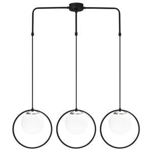 Čierne závesné svietidlo pre 3 žiarovky Opviq lights Dolunay