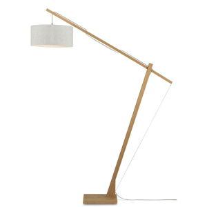 Stojacia lampa so svetlobéžovým tienidlom a konštrukciou z bambusu Good&Mojo Montblanc
