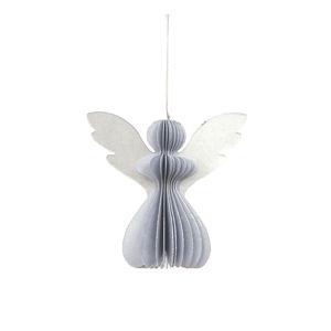 Papierová vianočná ozdoba v tvare anjela v striebornej farbe Only Natural, 12,5 x 7,5 cm