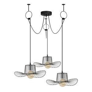 Čierne závesné svietidlo pre 3 žiarovky Opviq lights Tel Hat