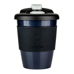 Čierny cestovný hrnček na kávu Drink Pod Kofein, 340 ml