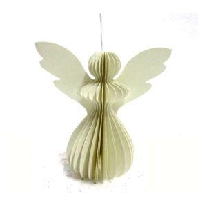 Papierová vianočná ozdoba v tvare anjela v svetlosivej farbe Only Natural, 12,5 x 7,5 cm