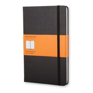 Čierny linajkový zápisník v pevnej väzbe Moleskine, 192 strán