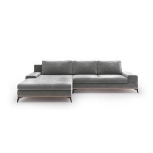 Sivá rozkladacia rohová pohovka so zamatovým poťahom Windsor & Co Sofas Astre, ľavý roh
